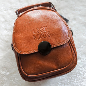Lost Minds Mini Convertible Handbag/Backpack - Tan