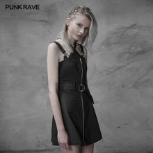Load image into Gallery viewer, Punk Rave Personality Pendulum Denim Pinafore Dress