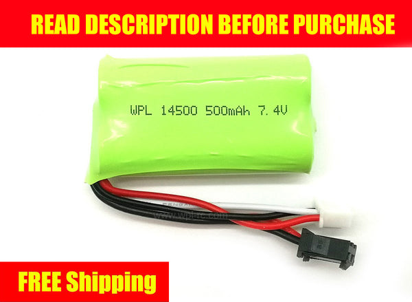 2S 7.4V 500mAh Li-Ion Battery 14500 - WPL RC Official Store