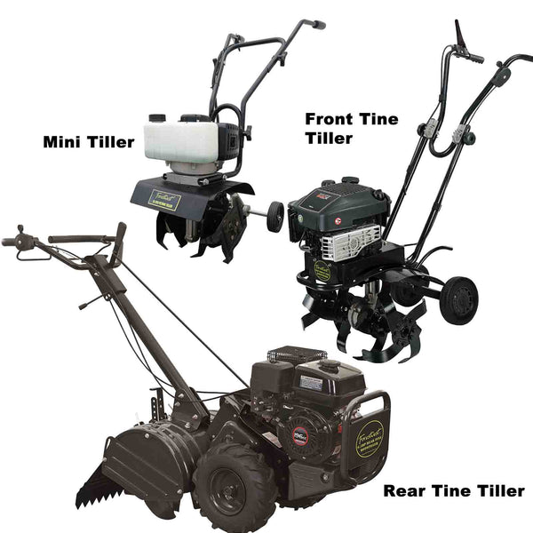 Front Tine Tillers, Rear Tine Tillers and Mini Tillers