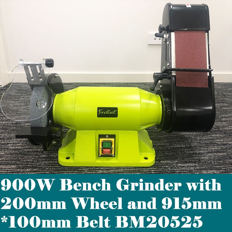 200mm Industrial Bench Grinder with Linisher 900W | Bench Grinders & Linishers Forestwest