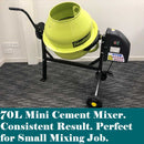 70L Portable Cement Mixer 220W Electric | Cement Mixer & Mortar Mixer Forestwest