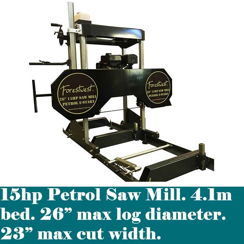 26 inch Wood Sawmill 15hp Petrol with E-Start BM11119 | Sawmill Forestwest