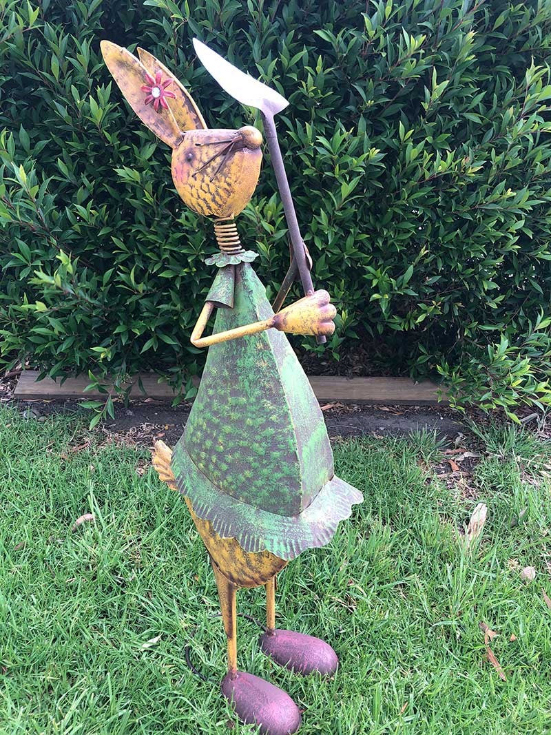 Home Garden Metal Decor Rabbit Statue with Tools | Garden Art Decor Forestwest