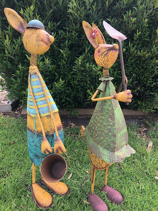 Home Garden Metal Decor Rabbit with Tools - Forestwest