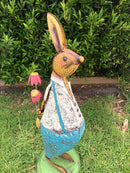 Home Garden Metal Decor Rabbit Statue with Flower | Garden Art Decor Forestwest