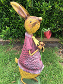 Home Garden Metal Decor Rabbit with Flower - Forestwest