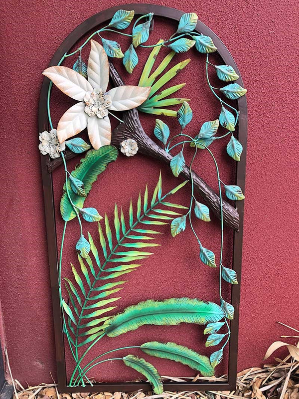 Metal Hanging Wall Art with Flowers - Forestwest