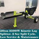 26ton Kinetic Log Splitter 3500W 15A - Forestwest