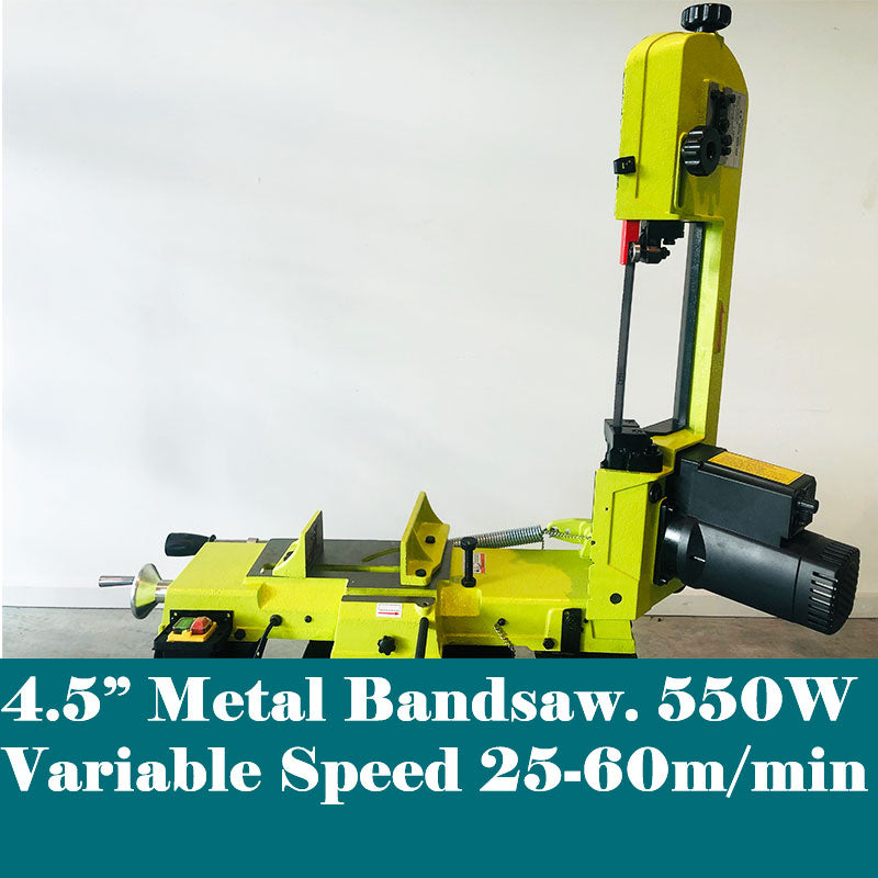 "4.5"" 550W Metal Cutting Bandsaw Variable Speed 25-60m/min 