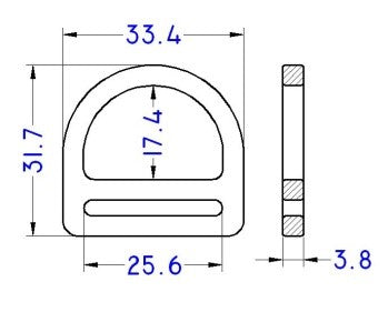 "Plastic 1"" Double Bar D-Ring (APDBR25)"