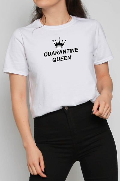 Quarantine Queen Slogan T-shirt in White
