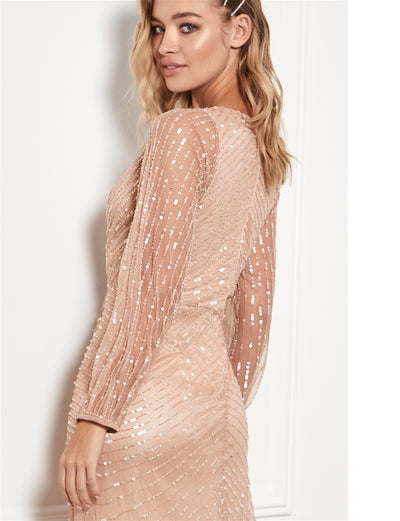 Daisianne Rose Gold Embellished Wrap Maxi Dress