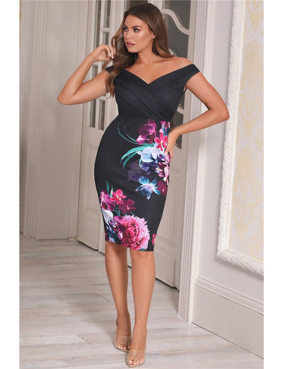 Deanne Black Floral Bodycon Dress