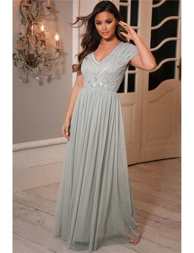 Lillis Sage Green Embellished Lace Maxi Dress