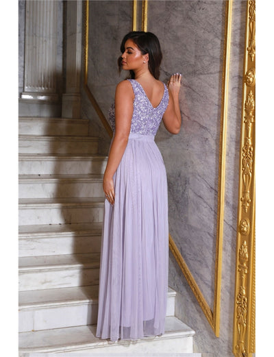 Yasmin Lavender Sequin Top Tiered Maxi Dress