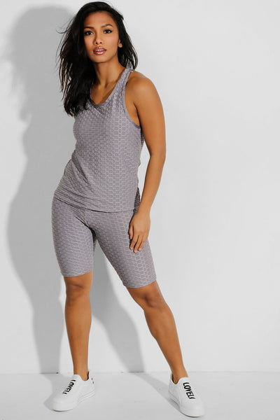 Shorso Women's Two-Piece Yoga Sports Vest Top and ¾ Length Shorts In Grey