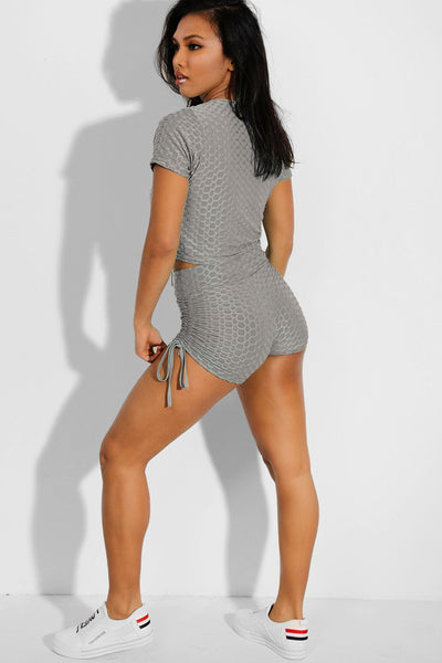 Shorso Two-Piece Yoga Set Drawstring Crop Top and Shorts in Grey