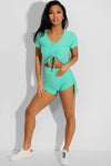 Shorso Two-Piece Yoga Set Drawstring Crop Top and Shorts in Mint Green