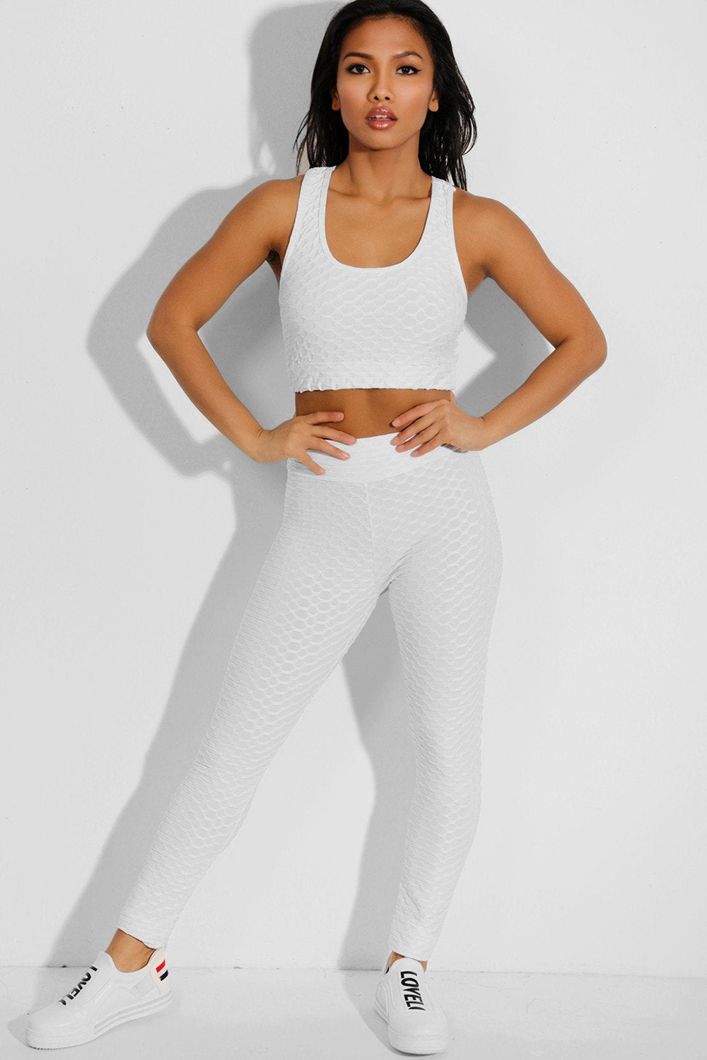 Shorso Two-Piece Yoga Set Sports Crop Top and Yoga Leggings in White