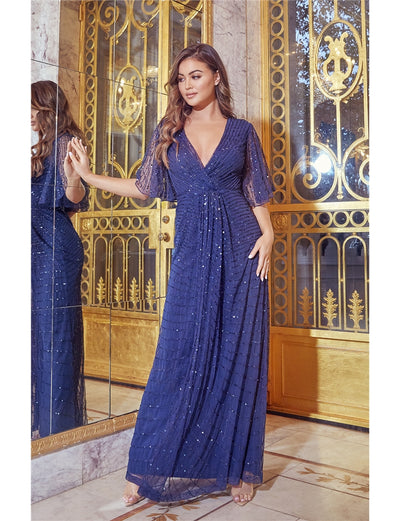 Delilah Navy Embellished Wrap Maxi Dress