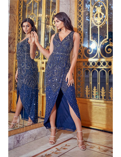 Freyah Navy Beaded Split Dress