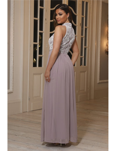 Luna Lilac Sequin Detailed Halterneck Maxi Dress