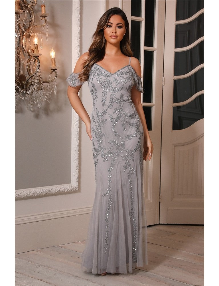 Mettia Silver Embroidered Beaded Bardot Maxi Dress