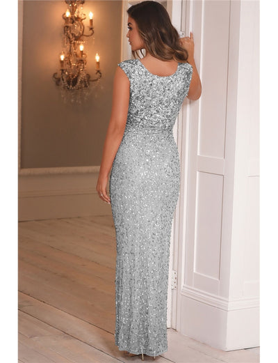 Blakely Silver All Over Sequin Gown Dress