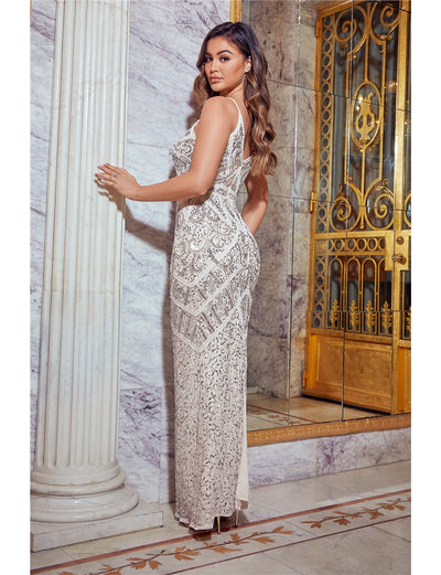 Special Edition Jessica Rose Flory Cream Beaded Maxi Dress