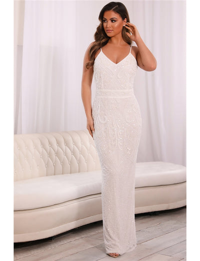 Special Edition Jessica Rose Flory White Beaded Maxi Dress