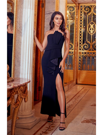 Shanna Black Structured Bandeau Origami Pleated Tailored Maxi Dress