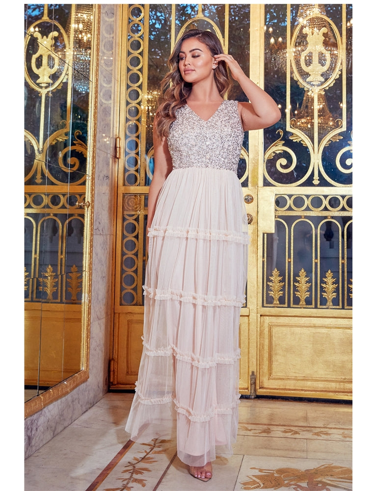 Luxe Diego Blush Embellished Maxi Dress