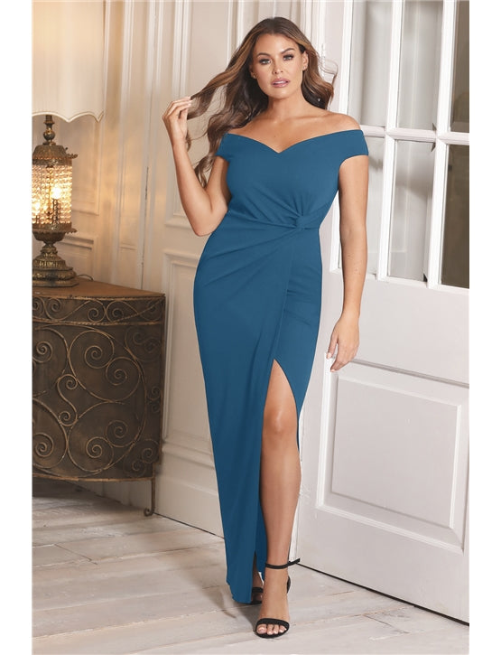 Jessica Wright Octy Teal Off The Shoulder Dress