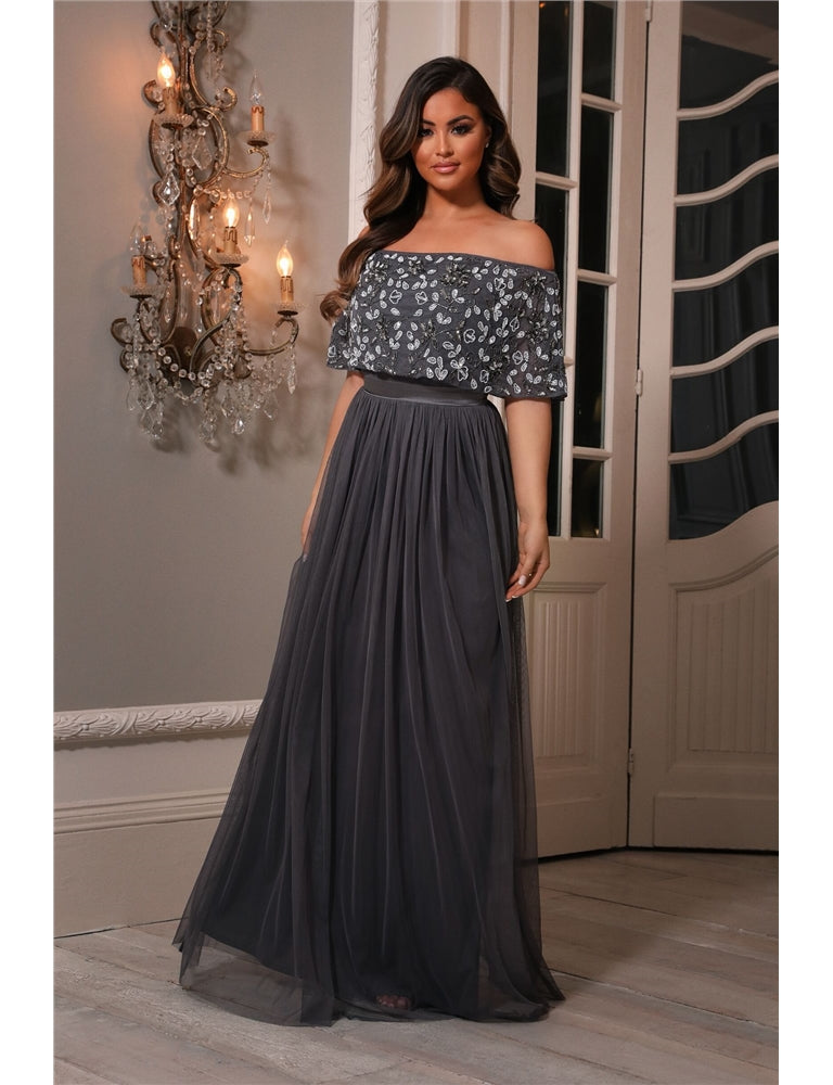 Iriana Charcoal Off The Shoulder Maxi Dress