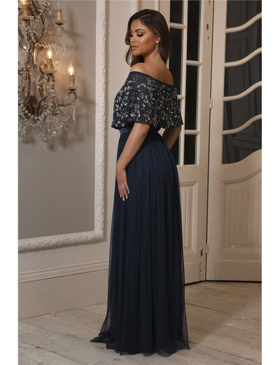 Iriana Navy Off The Shoulder Maxi Dress