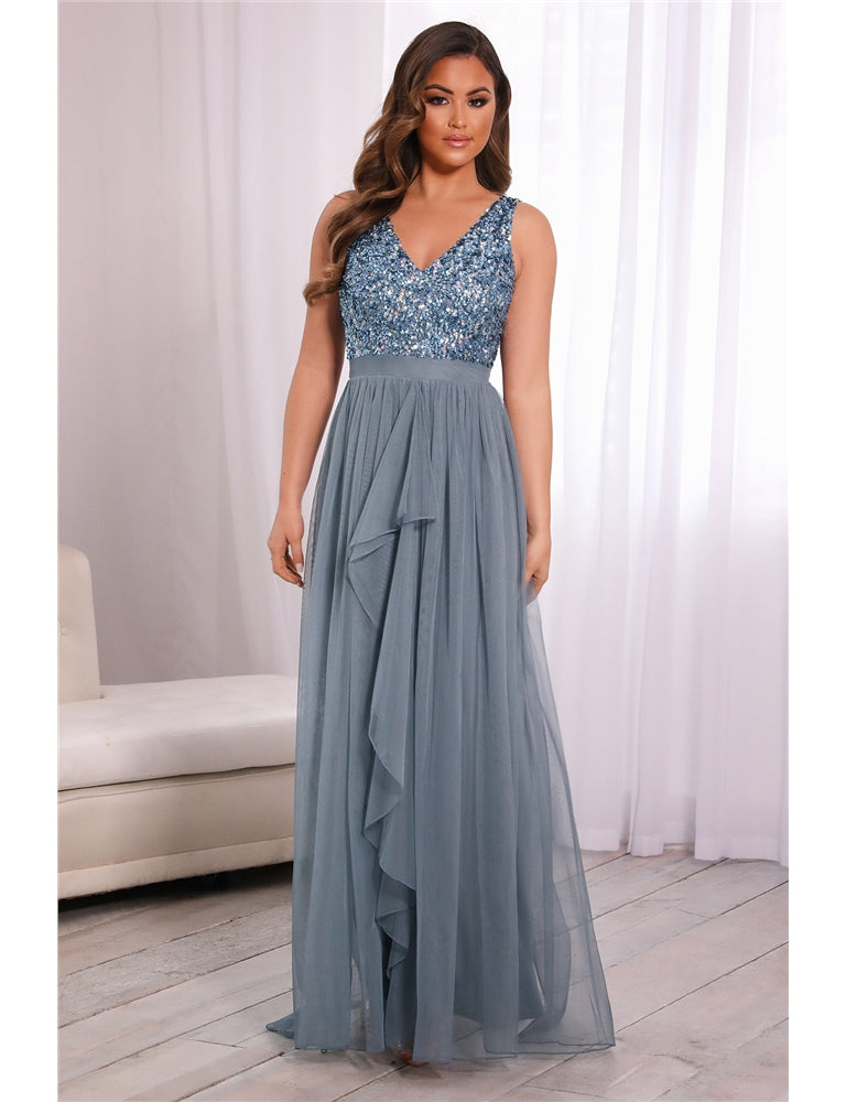 Yasmin Dusky Blue Sequin Top Tiered Maxi Dress
