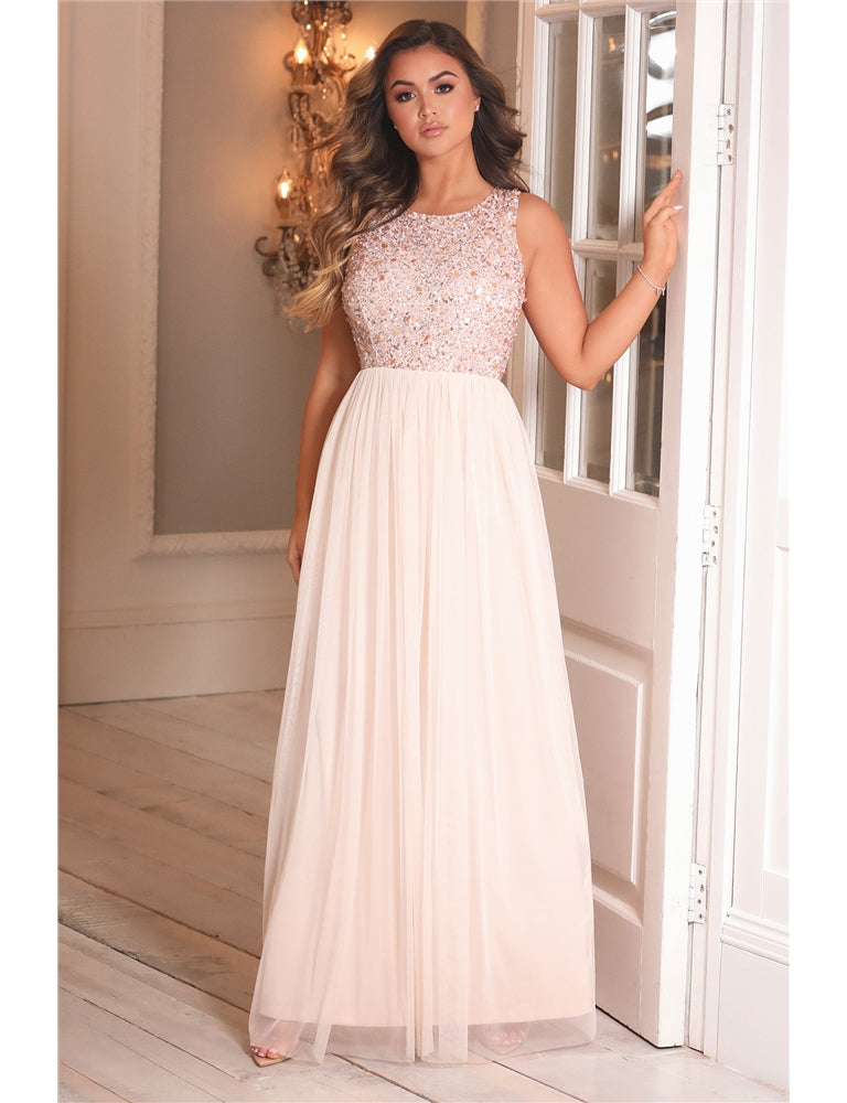 Gleicy Pink Embellished Halter Neck Maxi Dress