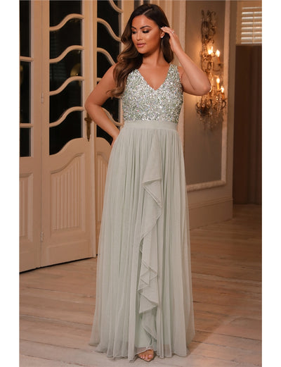 Yasmin Sage Green Sequin Top Tiered Maxi Dress