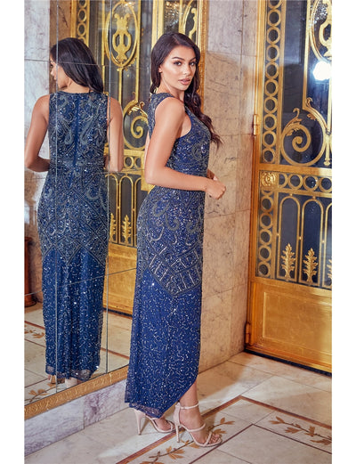 Freyah Navy Beaded Split Midi Dress