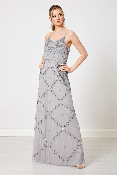 Aida Light Grey Embellished Sequin Maxi Dress