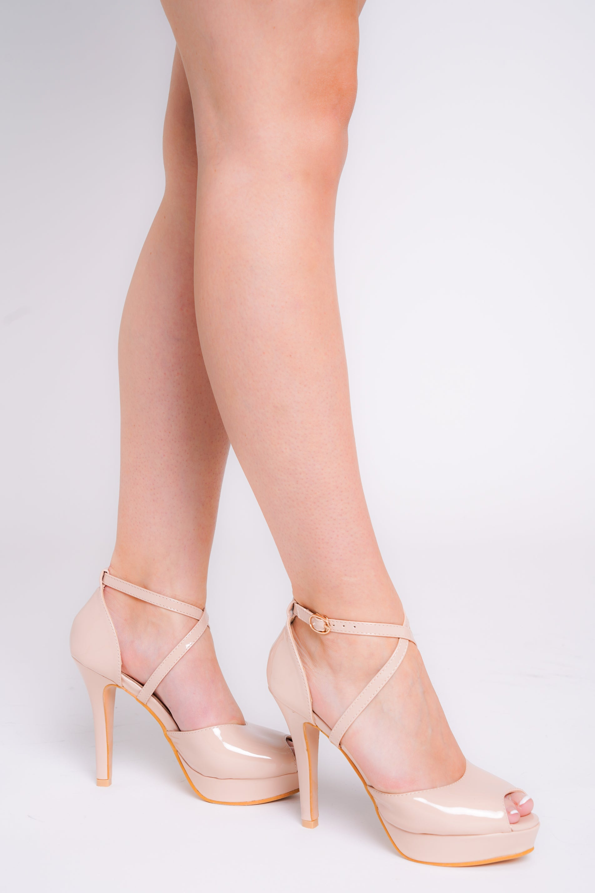 Mia Pink Patent Peep Toe Cross Over Strap Plattform Heels