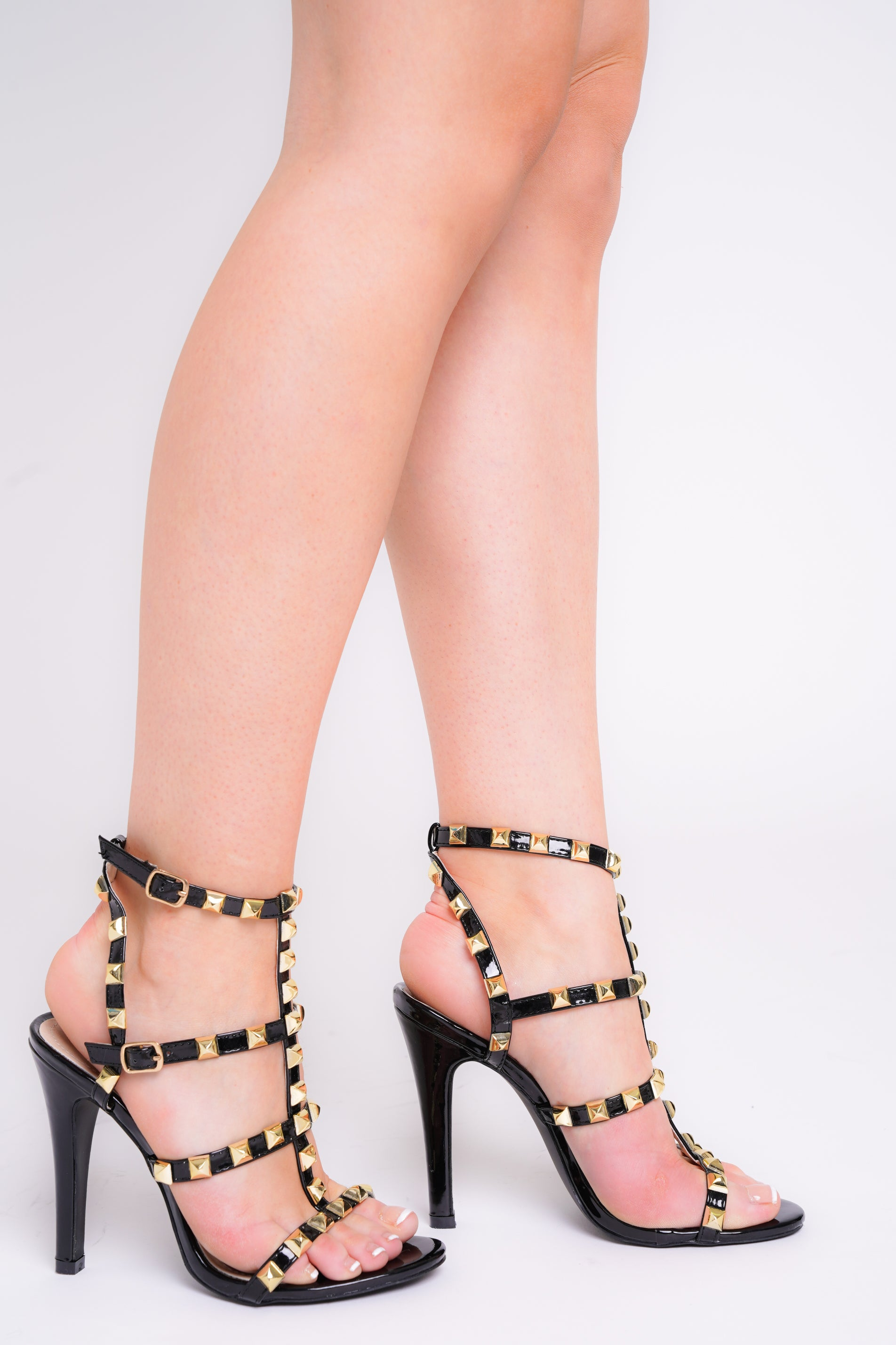 Gianna Black Spike Cage Stiletto Heels