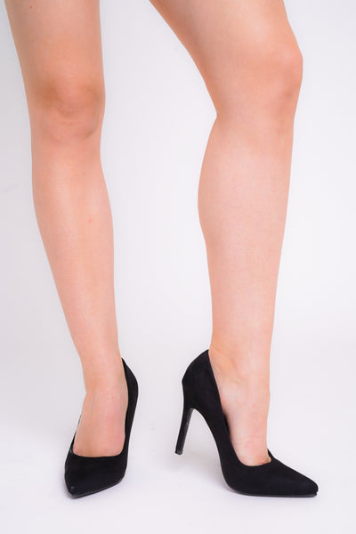 Amara Black Faux Suede Pointed Toe Heels