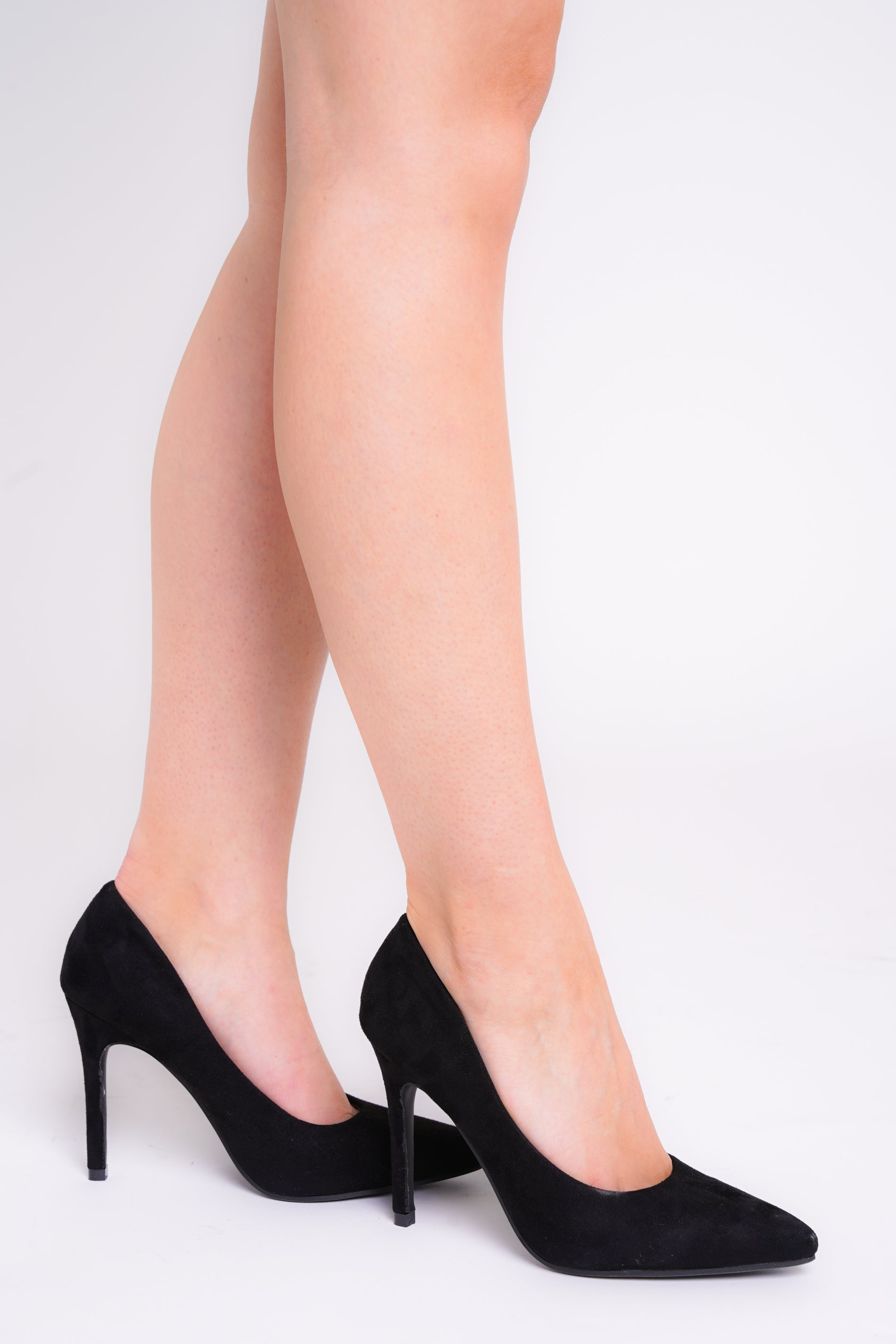 Amara Faux Suede Glitter Pointed Toe Heels