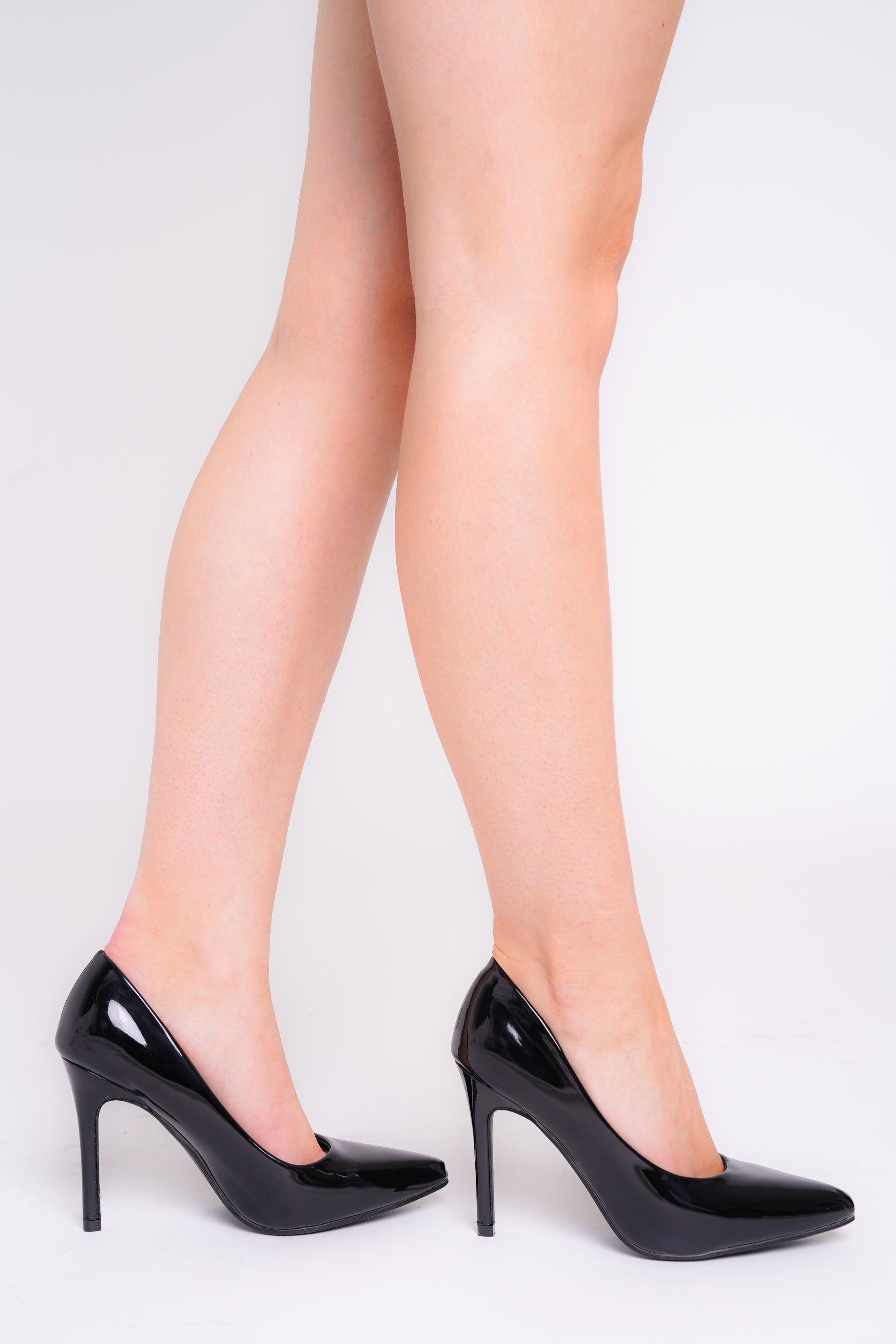Amara Black Patent Pointed Toe Heels