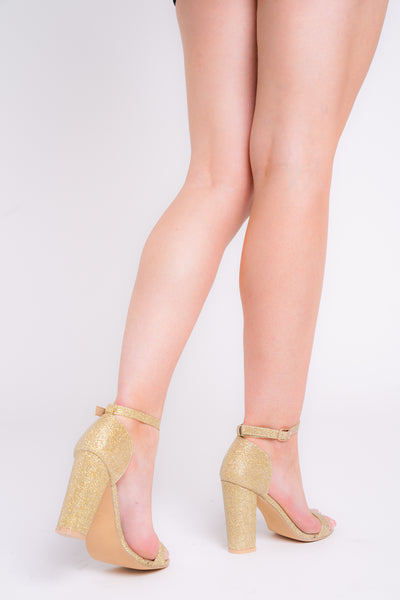 Siena Gold Glitter Barely There Block Heels