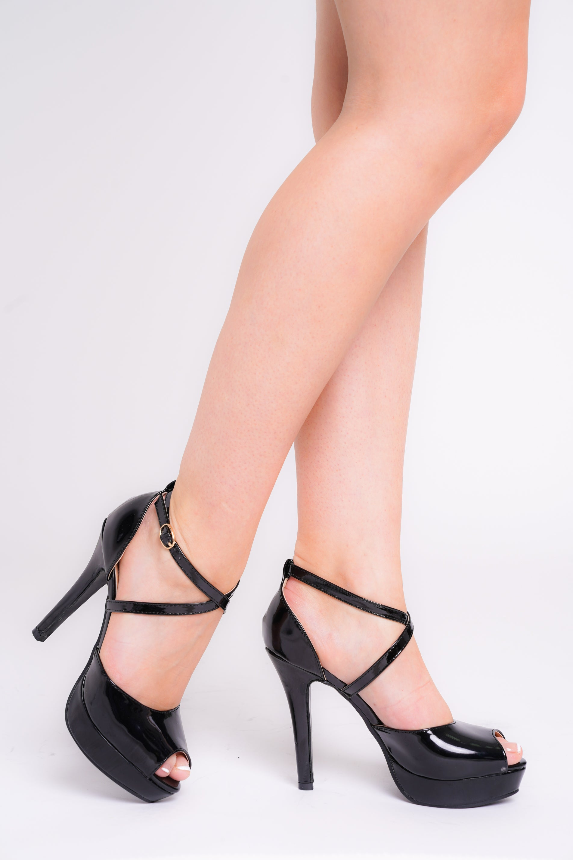 Mia Black Patent Peep Toe Cross Over Strap Platform Heels