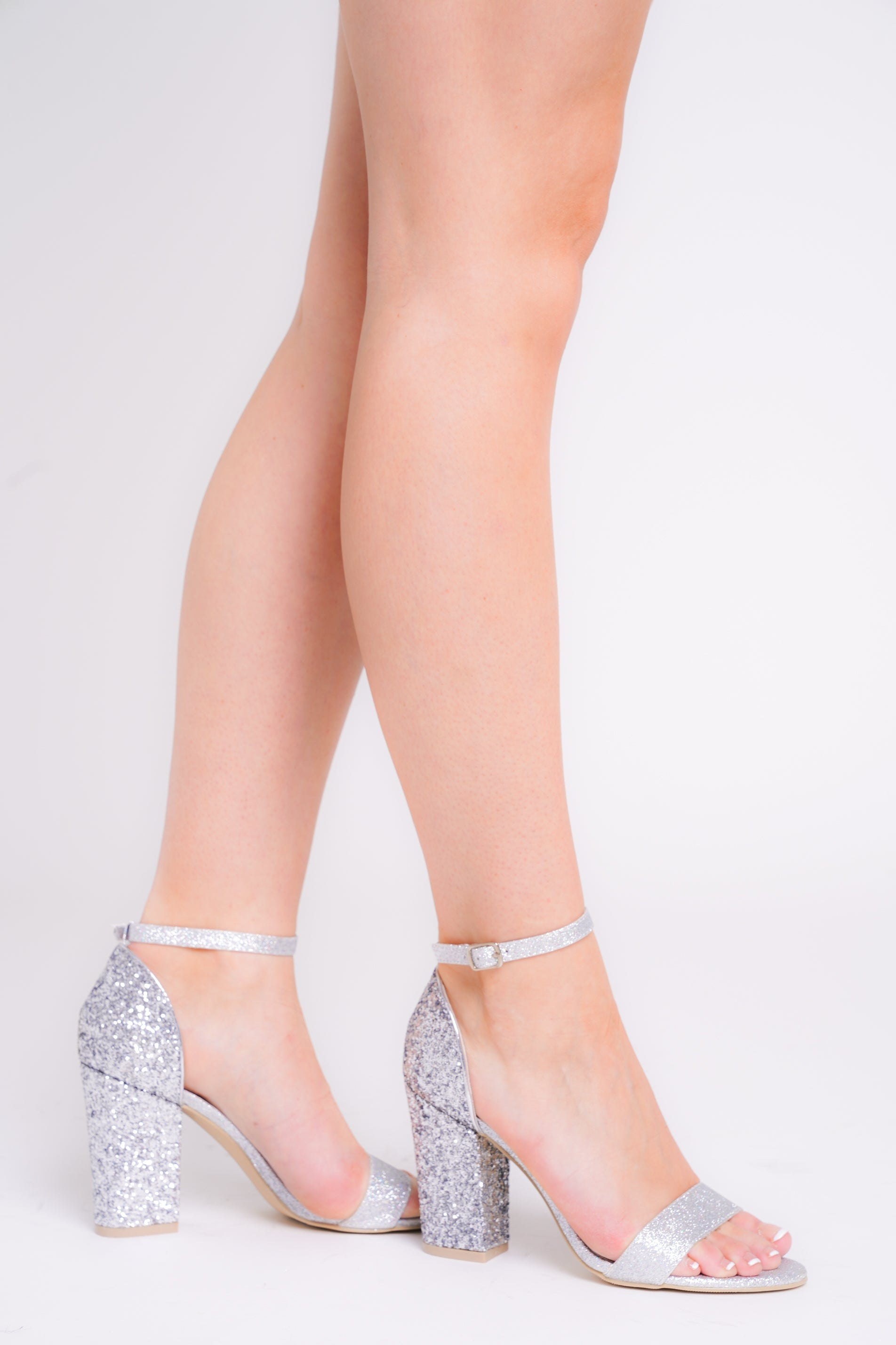 Siena Silver Glitter Barely There Strap Block Heels