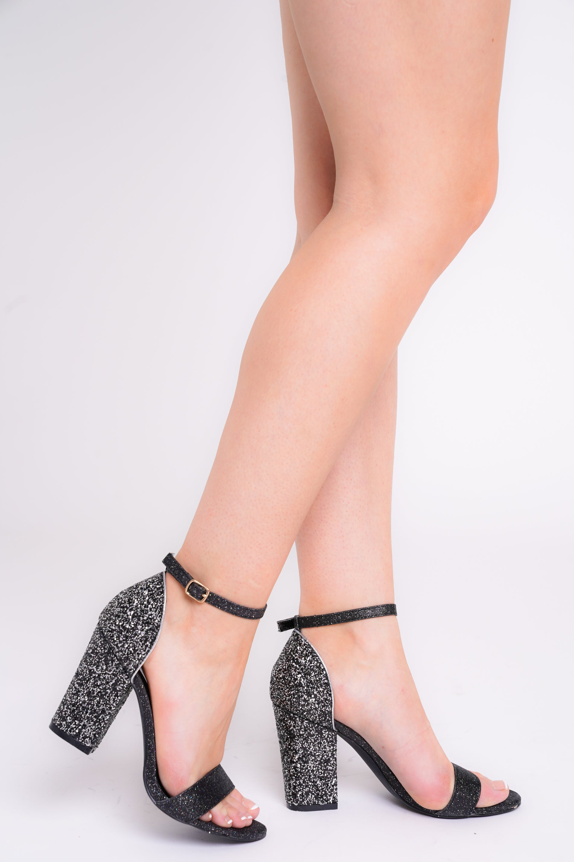 Siena Black Glitter Barely There Block Heels
